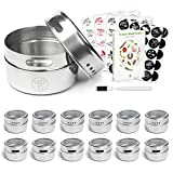 12 Magnetic Spice Containers & 4 Type Of Spice Labels & Ebook by Uplifebrothers - For Fridge, Grill & More - Stainless Steel Round Jars for Condiments and Craft Stuff. Clear Lid, Sift and Pour.