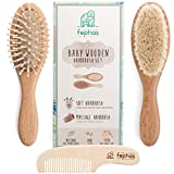 Wooden Baby Hair Brush and Comb Set for Newborns and Toddlers | Natural Soft Goat Bristles Hairbrush Ideal for Cradle Cap | Wood Bristles Baby Brush | Perfect Baby Shower and Registry Gift