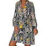 KLFGJ Damen Langarm Kleid Blumen Kleider Frauen Lange Ärmel Knielang Strandkleid Party Kleider V-Ausschnitt Beiläufige Lose Freizeit Blusenkleid(A1-Grey,EU-42/CN-2XL)