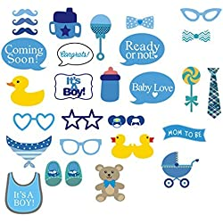 Photo Booth Props Aftermarket It's A Boy Baby Shower Party Photo Booth Props Kits on Sticks Set of 31pcs