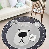 Round Area Rug, Living Room Carpet Bedroom Rug Super Soft Anti-Slip Cartoon Animal Baby Floor Mat for Kids Children Girls Room Decorator, 3.28 Feet (Bear)