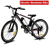 Pesters Electric Mountain Bike Mens 26'' Downhill Mountain Bike with Removable Large Capacity Lithium-Ion Battery (36V 250W), 26 Speeds Suspension Fork E-Bike(US Stock)