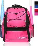 Athletico Youth Baseball Bag - Bat Backpack for Baseball, T-Ball & Softball Equipment & Gear   Holds Bat, Helmet, Glove   Fence Hook (Pink)