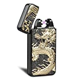 Kivors Dual Arc Plasma Lighter USB Rechargeable Windproof Flameless Butane Free Electric Chinese Dragon Loong Lighter for Cigar,Candle (Black)