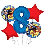 Superman Balloon Bouquet 8th Birthday 5 pcs - Party Supplies