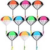 Trounistro 10 Pieces Parachute Toy Tangle Free Throwing Parachute Figures Hand Throw Soldiers Parachute Play Parachute Square Outdoor Children's Flying Toys