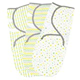 Baby Swaddle Blankets for Newborn Boy and Girl, Small/Medium 0-3 Months Old, 3 Set of Adjustable Infant Wrap, Yellow