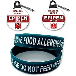 I HAVE FOOD ALLERGIES Allergy Bracelet for Kids Teal 2pcs Toddler Size/Medical Alert Epipen Inside Bag Tag 2pcs