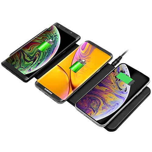 Qi Triple Wireless Charger Station,JE 3 Devices Multi Wireless Charger Pad,Desktop Charging Station for iPhone XS MAX/XR/XS/X/8/8 Plus,Samsung Galaxy S8+ S7/S7 Edge Note 8/5, Nexus 5/6/7& all QI-Enabl