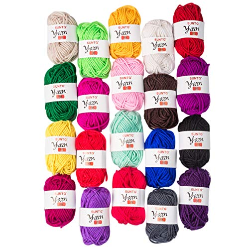 SUNTQ 100% Acrylic Yarn 20 Assorted Colors Skeins Bonbons Yarn for Crochet & Knitting Assorted Rainbow Variety Colored Assortment,0.35oz per Roll,7oz per Package