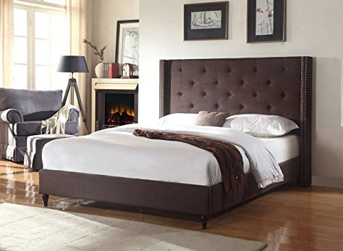 Home Life Premiere Classics Cloth Brown Linen 51' Tall Headboard Platform Bed with Slats Queen - Complete Bed 5 Year Warranty Included 007
