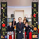 Mosoan Back to School Decorations Outdoor Indoor - Welcome Back to School Banner Porch Sign - Back to School Party Classroom Office School Hanging Decor