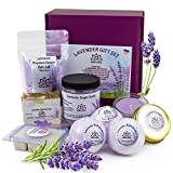 Gift Sets For Women - Organic Spa Bath Basket with Soy Wax Candle, Lavender Natural Oil Bath Salt, 3 Bath Bombs, Handmade Soap, Body Sugar Scrub- spa gift set for Mom Girls Her Mother Grandma Daughter