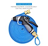 Vetroo 15m / 50ft Lay-Flat TPE Discharge Garden Water Hose Pipe (Copper Alloy) Heavy Duty High Pressure Nozzle Sprayer (Blue)