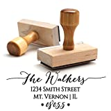 Return Address Stamp Family Last Name Surname Customizable Personalized Traditional Wood Wooden Handle Custom Self Inking Rubber Stamper | Envelope Stamp Custom Packaging