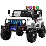 Uenjoy Electric Kids Ride On Cars 12V Battery Power Vehicles W/ Wheels Suspension, Remote Control, Music& Story Playing, Colorful Lights, Sunshine Model, White