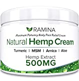 Ramina Natural Hemp Extract Pain Relief Cream - 500 Mg - Hemp Salve Contains Turmeric, MSM & Arnica - Relieves Inflammation, Muscle, Joint, Back, Knee, Nerves & Arthritis Pain - Made in USA - Non-GMO