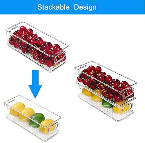 Set Of 6 Stackable Plastic Food Storage Bins - Refrigerator Organizer Bins with Cutout Handles for Fridge, Freezer, Kitchen, Countertops, and Cabinets - BPA Clear Plastic Pantry Storage Racks