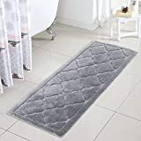 Uphome Bath Rug Runner Luxury Gray Moroccon Bath Mat 18x47 inch Shaggy Non-Slip Water Absorbent Long Kitchen Rugs Soft Microfiber Geometric Floor Carpet for Shower Bathtub