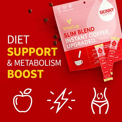 VitaCup Slim Coffee Instant Stick Hot or Cold Brew for Skinny Diet & Metabolism w/ Vitamins, Garcinia, Ginseng, & Inulin in 24 ct. single serve packets 6