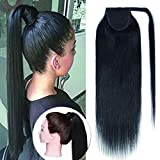 SEGO Wrap Around Ponytail Hair Extensions Human Hair Long Straight 100% Real Remy Hair Pony Tails Hair Extensions For Women #01 Jet Black 22 Inch 95g