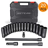 Meterk 1/2-Inch Drive Metric Deep Impact Socket Set, 20PCS Set, CR-V, 6 Point Metric Sizes with 3 Extension Bar and 1 Socket Wrench Adapter (9-24mm)