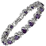 RIZILIA Blossom Round Simulated Purple Amethyst and White Cubic Zirconia 18K White Gold Plated Tennis Bracelet, 7'