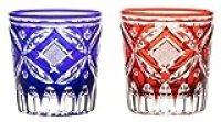 Japanese Paired Rocks Glass of Edo-Kiriko (Cut Glass) Shippo-nanako Pattern