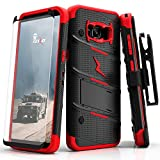Samsung Galaxy S8 Case, Zizo [Bolt Series] w/ [Galaxy S8 Screen Protector] Kickstand [12 ft. Military Grade Drop Tested] Holster Belt Clip - Galaxy S8 Black/Red
