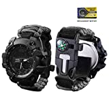 vikano Survival Bracelet Watch, Men & Women Emergency Survival Watch with Paracord/Whistle/Fire Starter/Scraper/Compass and Thermometer, 6 in 1 Multifunctional Outdoor Gear (Black)