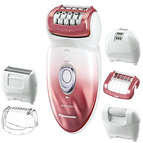 Panasonic ES-ED90-P Wet/Dry Epilator and Shaver, with Six Attachments including Pedicure Buffer for Foot Care