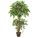 Nearly Natural 5544 4-Ft. Variegated Ficus Artificial Silk Trees Green