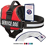 Service Dog Vest With Hook and Loop Straps and Handle - Harness is Available in 8 Sizes From XXXS to XXL - Service Dog Harness Features Reflective Patch and Comfortable Mesh Design (Red, Medium)