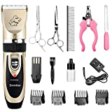 Sminiker Professional Rechargeable Cordless Dogs and Cats Grooming Clippers - Professional Pet Hair Clippers with Comb Guides for Dogs Cats and Other House Animals,Pet Grooming Kit