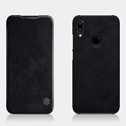 Nillkin Case for Xiaomi Redmi Note 7 Qin Genuine Classic Leather Flip Folio PC with Card Slot Black Color 133