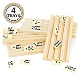 Brybelly Set of Four Plastic Domino Trays - Premium Holder Racks for Domino Tiles, Great for Mexican Train, Mahjong, Chickenfoot, Domino Games