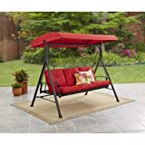Mainstay Durable Rust-Resistant Powder-Coated Steel Frame 3-Person Canopy Porch Swing Bed, (Red) + Free Cleaning Dust Cloth