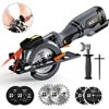 """TACKLIFE Circular Saw with Metal Handle, 6 Blades(4-3/4"""" & 4-1/2""""), Laser Guide, 5.8A, Max Cutting Depth 1-11/16'' (90°), 1-3/8'' (0°-45°), Ideal for Wood, Soft Metal, Tile and Plastic Cuts - TCS115A"""