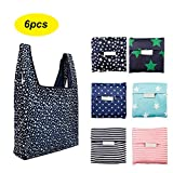 6 Pack Reusable Shopping Grocery Bags Foldable, Washable Grocery Tote with Pouch, 35LB Weight Capacity, Heavy Duty Shopping Tote Bag, Eco-Friendly Purse Bag Fits in Pocket Waterproof & Lightweight