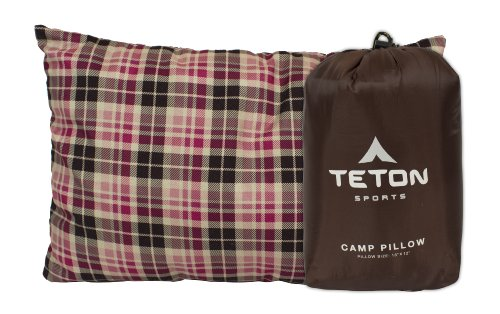 TETON Sports Camp Pillow Perfect for Anytime You Travel; Camping, Backpacking, Airplanes, and Road Trips; Comfortable Pillow for Neck and Lumbar Support; You Can Take It Anywhere; Washable; Brown