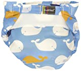 Kushies Ultra-Lite All-in-One Form-Fitted Washable Cloth Diapers (Blue Whales, Infant)