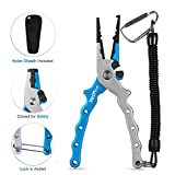 Wolfyok Aluminum Fishing Pliers, Stainless SteelHook Removers Pliers, Saltwater Split Ring Tool & Braid Line Cutterswith Sheath and Lanyard
