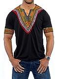 Huiyuzhi Men's African Print Dashiki T-Shirt Tops (2XL, Black)