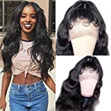 ORIGINAL QUEEN 8A Grade Body Wave Lace Front Wig With Pre Plucked Hairline Brazilian Human Hair Wigs Natural Color(18 inches)