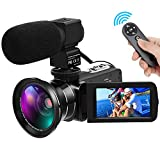 Video Camera HD 1080P 30FPS 24MP Camcorder YouTube Digital Video Camera 16X Digital Zoom IR Night Vision Digital Camcorder with External Microphone and Wide Angle Lens