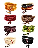 LOYALLOOK Wood Bracelet Buddhist Prayer 108 Mala Bead Bracelets Buddhist Strand 108 Beads Bracelet Wood Necklace Chain for Men Women with Chinese Knot