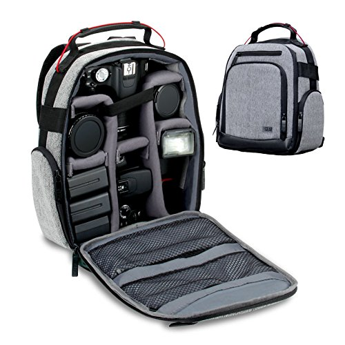 USA GEAR DSLR Camera Backpack with Customizable Interior Storage , a Weather Resistant Bottom and Comfort Padded Back Support for Canon EOS T5 / T6 / T5i / T6i – Nikon D3300 / D5500 / D3400 and More
