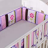 Wowelife Baby Crib Bumpers Purple Breathable Nursery Bumper Pads 4 Piece Flowers and Hearts for Baby Boys and Girls(Purple Elephant)