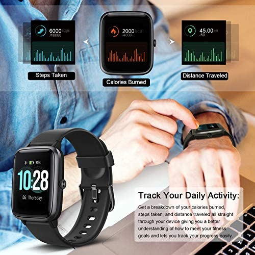 """Letsfit Smart Watch, Fitness Tracker with Heart Rate Monitor, Activity Tracker with 1.3"""" Touch Screen, IP68 Waterproof Pedometer Smartwatch with Sleep Monitor, Step Counter for Women and Men 4"""