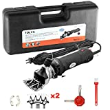 Electric Sheep Shears, TOLYS 380W Portable Sheep Clippers with 6 Speed, Electric Goat Shears for Sheep Goat Llama Horse Alpacas Thick Coat and Heavy Duty Animals Hair Fur Grooming, 2 Original Blades